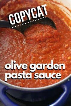 Olive Garden Spaghetti Sauce Recipe, Best Homemade Spaghetti Sauce, Olive Garden Pasta, Spaghetti Recipes, Olive Garden Marinara Sauce Recipe, Best Spaghetti Recipe, Italian Spaghetti Sauce, Canned Spaghetti Sauce, Tomato Sauce