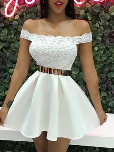 Off Shoulder Lace Splicing Pleated Dress trendiest dresses for any occasions, including wedding gowns, special event dresses, accessories and women clothing. Mode Outfits, Dance Outfits, Night Outfits, Summer Outfits, Girl Outfits, Going Out Dresses, Pretty Dresses, Beautiful Dresses, White Homecoming Dresses