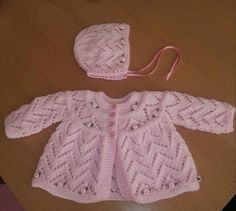 Items similar to Pink baby girls ROSEBUD hand knit layette, matinee jacket , cardigan BIRTH to 3 months and matching BONNET on Etsy Baby Cardigan Knitting Pattern Free, Baby Knitting Patterns, Hand Knitting, Knit Baby Sweaters, Knitted Baby Clothes, Baby Girls, Girls Hand, Free Baby Patterns, Cardigan Bebe