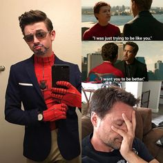 @azpeterparker op Instagram: He told me he wanted me to be better... I introduce Spidey-Stark... Mr.Stark what do you think?? This is Brilliant!! Credits to azpeterparker on Instagram and aztonystark! Amazing cosplayers ♡♡