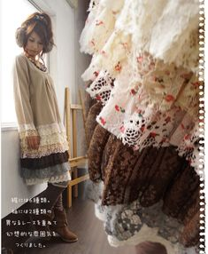 Layered Lace Floral Long-Sleeve Vintage Dress