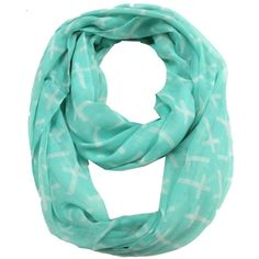 ModestlyChic Apparel Mint Cross Print Infinitiy Scarf ($8.99) ❤ liked on Polyvore featuring accessories, scarves, blue, lightweight scarves, blue scarves, holiday scarves, print scarves and mint green scarves
