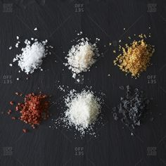 Piles of different kind of salts