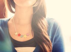Necklace Garland Star Beauty and Geometric Star by PetiteDeer, $17.00