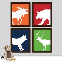 Woodland Nursery Prints - Animal Nursery Print - Forest Animals - Boy Room - Set of Four Prints. $34.00, via Etsy.