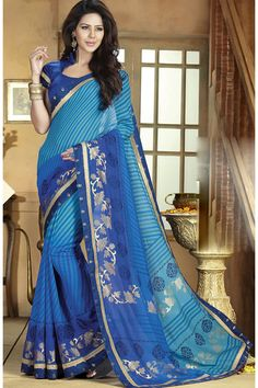 Blue Designer #Printed #Party Wear Saree With Blouse At Skysarees.