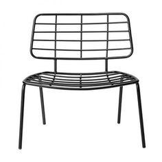 Bloomingville zwart ijzeren lounge stoel