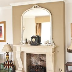 A beautiful large champagne silver over the mantle mirror made here in the UK, especially for Decorative Mirrors Online. Please note the colour is not a bright silver but a champagne colour. Mirror Above Fireplace, Fireplace Mantle, Living Room Interior, Living Room Decor, Bedroom Decor, Old Mirrors, Mirror Mirror, Overmantle Mirror, House Design