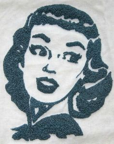 Embroidery with only French knots gives a new meaning to the stippling technique. #embroidery