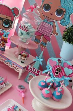 Violeta Glace 's Birthday / LOL Surprise Dolls - Photo Gallery at Catch My Party Slumber Parties, Unicorn Birthday Parties, 8th Birthday, Birthday Party Decorations, Surprise Birthday, 5th Birthday Party Ideas, Luau Party, Cake Birthday, Lol Doll Cake