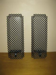 Mid Century Metal mesh shelves  candle holders  by oakiesclaptrap