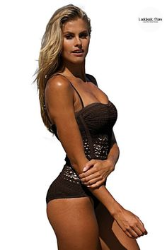 Fashion Deals // This gorgeous brown bramble lace halter swimsuit is one that you'll fall in love with instantly.
