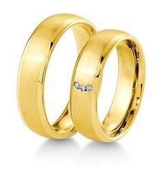 Breuning Trouwringen | Inspiration collectie gouden ringen | 6.0 mm briljant 0.03ct verkrijgbaar in 8,14 en 18 karaat | DR 48041770 / HR 48041780 OOK in wit geel en rood goud verkrijgbaar of in 2 kleuren goud #trouwringen #breuning #trouwen