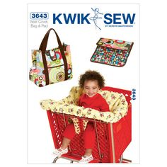 Shopping Cart Seat Cover & Diaper Bag with Changing Pad-No Size Pattern, , hi-res