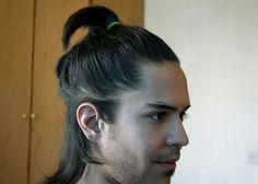 The top knot hairstyle is a perfect choice for men with long hair, preferably those that stretch to the shoulders and beyond. Top Knot, Knots, Hairstyle, Mens Fashion, Long Hair Styles, Clothes For Women, Makeup, Samurai, Projects
