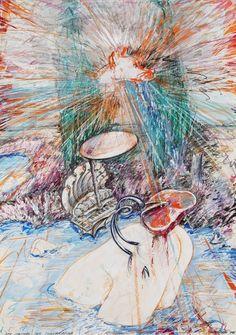 Christian Ludwig Attersee (Austrian, b. Der Speichel der Sonnendogge [The Sun Dragon's Saliva], Mixed media on cardboard, x cm. Ludwig, Mixed Media, Dragon, Christian, Sun, Painting, Painting Art, Dragons, Paintings