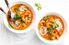 Thai prawn curry noodles Spice up your mid-week with  this deliciously fragrant broth packed with soft rice noodles and juicy prawns. Using a handy jar of curry paste, zesty lime, rich fish sauce and creamy coconut milk you ca