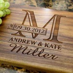 Monogram Personalized Engraved Cutting Board Wedding Gift Anniversary Gifts Housewarming GiftBirthday Gift Corporate Gift Award Promotion 003 >>> Check out this great article. Custom Cutting Boards, Engraved Cutting Board, Diy Cutting Board, Personalized Cutting Board, Wedding Gifts For Couples, Unique Wedding Gifts, Personalized Wedding Gifts, Wedding Rustic, Gift Wedding