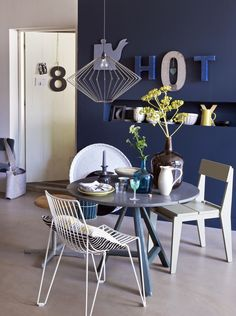 Looking for small dining room ideas? Tons of dining room inspiring Ideas! Find the most suitable design and improve your home's decoration! Tiny Dining Rooms, Small Dining, Small Rooms, Interior Decorating, Interior Design, Tiny Spaces, Blue Walls, Home And Living, Dining Chairs