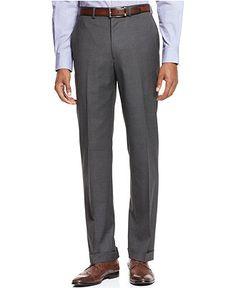 Ryan Seacrest Distinction Grey Solid Slim-Fit Pants