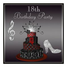 Disco Diva Cake, Silver Heels 18th Birthday Announcements