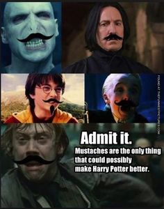Harry Potter and the mustache.someone should make this film! I Zombie, Fans D'harry Potter, Harry Potter Puns, No Muggles, Movies And Series, Yer A Wizard Harry, Fandoms, Moustaches, Looks Cool