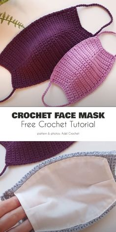 pattern for crochet face masks Fabric Lined Adult Face Mask Free Crochet P… - Masque Mode Crochet, Diy Crochet, Crochet Crafts, Crochet Projects, Crochet Bikini, Crochet Fabric, Crochet Panda, Easy Knitting Projects, Yarn Crafts