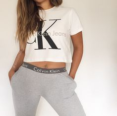 Calvin Klein Jeans classic cropped white tee and bottoms two piece set - reworked