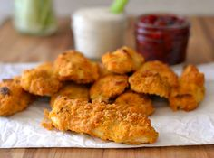 Delicious Chicken Strips don't have to be fried. Try these Baked Buffalo Ranch Chicken Strips instead. Buffalo Chicken Strips, Buffalo Ranch Chicken, Game Day Food, Yum Yum Chicken, Recipe Ideas, Spicy, Dinners, Baking, Face