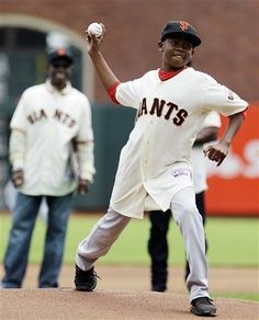 Darren Baker throws out the first pitch of the game . . . to JT Snow.  (7/1/12 v CIN)