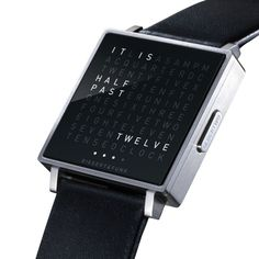QLOCKTWO's letter grid lights up to tell yoiu the right time.