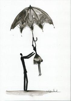 Abstrakcja deszczowa ulica ręcznie malowany obraz kobieta z | Etsy Rain Street, Rainy Days, Romantic, Etsy, Abstract, Drawings, Illustration, Pictures, Painting