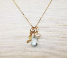 Personalized Initial Gold Filled Birthstone Jewelry - Blue Topaz Charm Necklace - December Birthstone - Bridesmaid Necklace on Etsy, $38.00