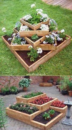 20 Truly Cool DIY Garden Bed and Planter Ideas - Build tiered beds from wood. - 20 Truly Cool DIY Garden Bed and Planter Ideas – Build tiered beds from wooden pallets. – 20 Truly Cool DIY Garden Bed and Planter Ideas Diy Garden Bed, Diy Garden Projects, Raised Garden Beds, Raised Beds, Easy Garden, Garden Tips, Diy Garden Ideas On A Budget, Herb Garden, Raised Flower Beds