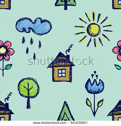 Seamless raster pattern with cute childish hand drawn house, sun, cloud, rain, flowers, tree Colorful endless doodle background with line drawing sketch elements. Graphic repeat doodle illustration