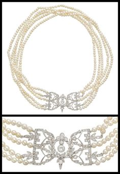 detournementsmineurs:   Antique Five-Strand Natural Pearl Necklace with pierced diamond-set clasp in platinum, circa 1920.