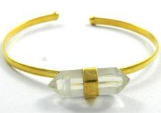 Sweet 1 Pcs Bezel Set Crystal 18k Gold Vermeil Brass Bangle, Fashion Jewelry #Handmade #Statement