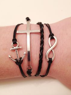 Black Infinity, Cross, Anchor Bracelet. $8.00, via Etsy.