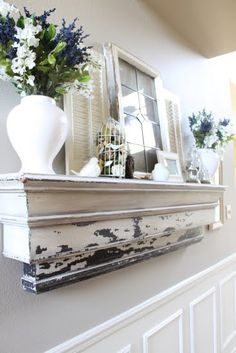 Love the mantle-like shape of this shelf. Maybe for the living room?