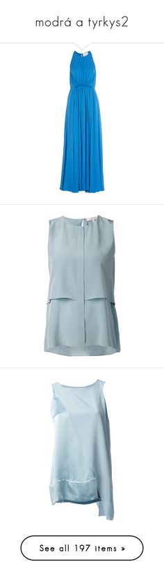 """""""modrá a tyrkys2"""" by pokuson ❤ liked on Polyvore featuring dresses, gowns, long dresses, blue, blue summer dress, blue dress, blue gown, cocktail dresses, blue ball gown and tops"""