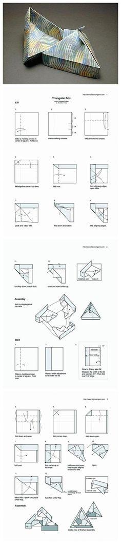 Triangular Box Facendo le pieghe iniziali come il primo (a 1\4 e non a metà)ma procedendo come il secondo si ottiene un coperchio a piramide figo