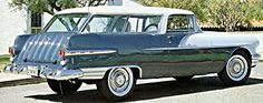 1956 Pontiac Star Chief Safari Wagon. Two-toning was very popular even in wagons  this was a new model, made to compete with Chevy's Nomad Wagon,if first year results were any indicator it only sold 4000  Cost: $2,965.00