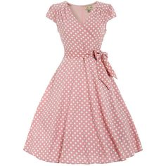 Dawn Pastel Pink Polka Dot Swing Dress | Vintage Dresses - Lindy Bop ($39) ❤ liked on Polyvore featuring dresses, red vintage dress, vintage dresses, vintage day dress, vintage swing dress and trapeze dress