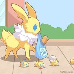 Jolteon carrying electricity-related groceries with help from Joltiks.