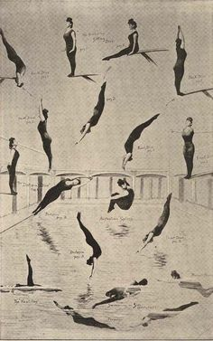 Annette Kellerman's Feats Of Diving Swimming Illustration Chart 1920s Roaring Twenties Woman. $27.89, via Etsy.