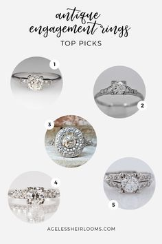 Stunning antique engagement rings currently available on Etsy.