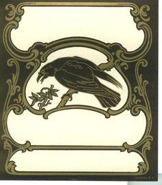 Vintage Art Nouveau Raven Label