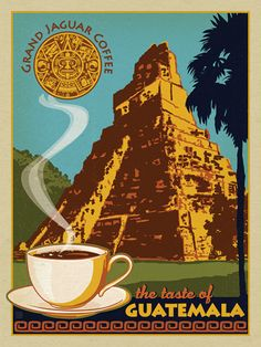 Grand Jaguar Guatemalan Coffee - Take a taste bud adventure to ancient Mayan ruins in Guatemala. Masterfully produced on gallery-grade paper, this classic print will bring color and old-world charm to your walls for years to come!<br />