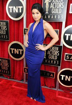 Jordin Sparks showed off her slim shape in a draped gown at the 2013 SAG Awards.