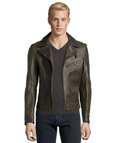 Gucci brown leather asymmetrical zip front motorcycle jacket
